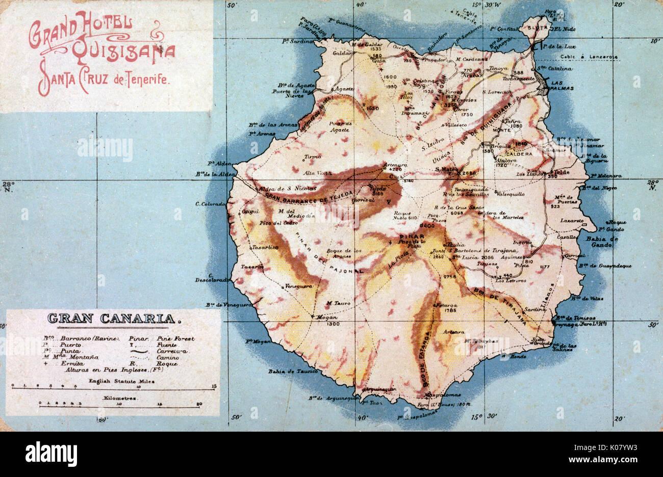 Spanische Inseln Karte.Karte Von Gran Canaria Kanarische Inseln Datum Ca 1908 Stockfoto