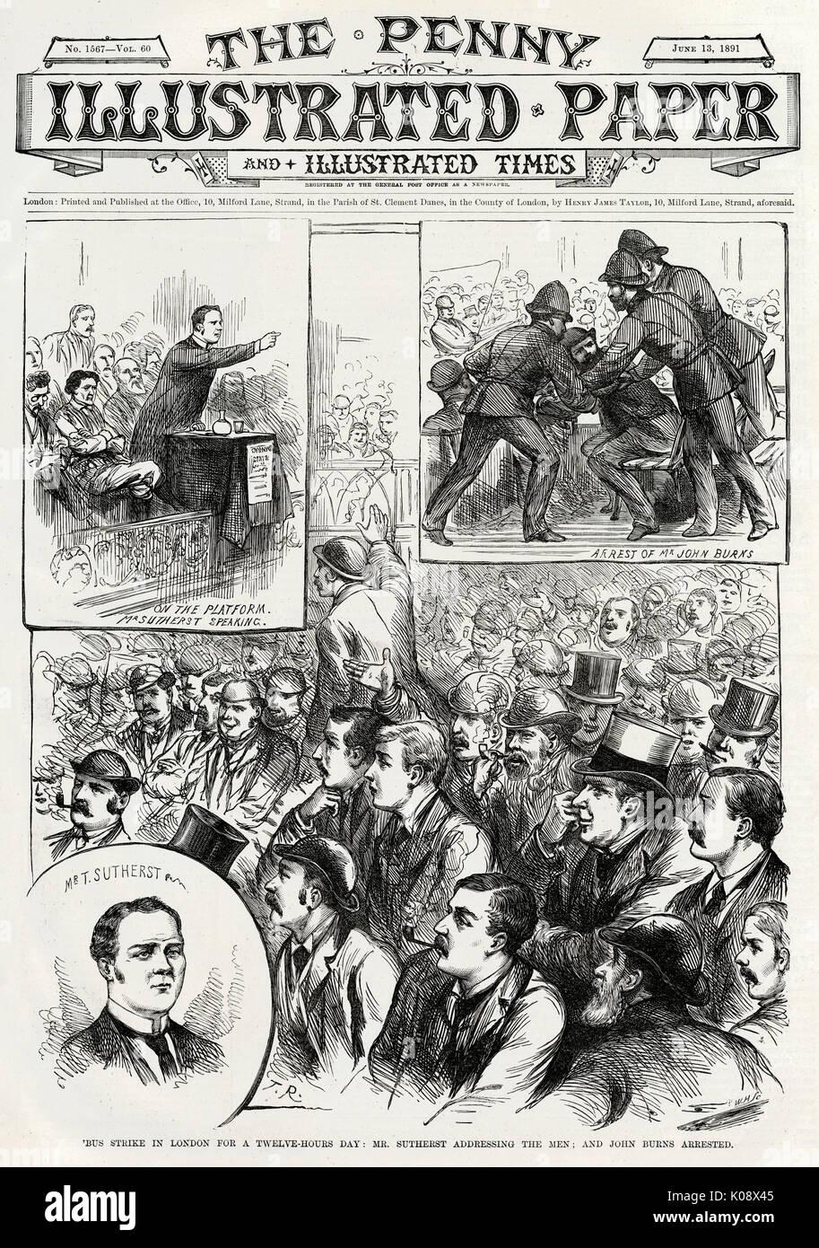 """Abdeckung an der Vorderseite von """"Penny Abbildung: Papier"""", in dem der erste Streik von London Transport Arbeiter Stockfoto"""