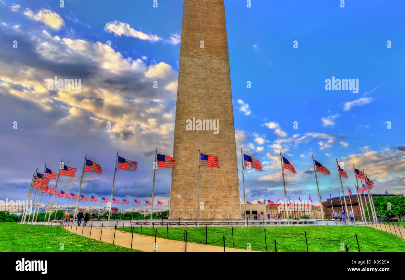 Das Washington Monument, ein Obelisk auf der National Mall in Washington, D.C. Stockbild