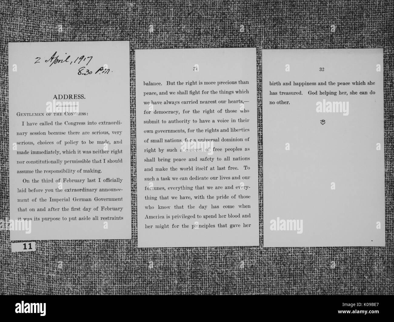 Drei Seite Brief An Den Kongress Mit Dem Titel Adresse Von Woodrow