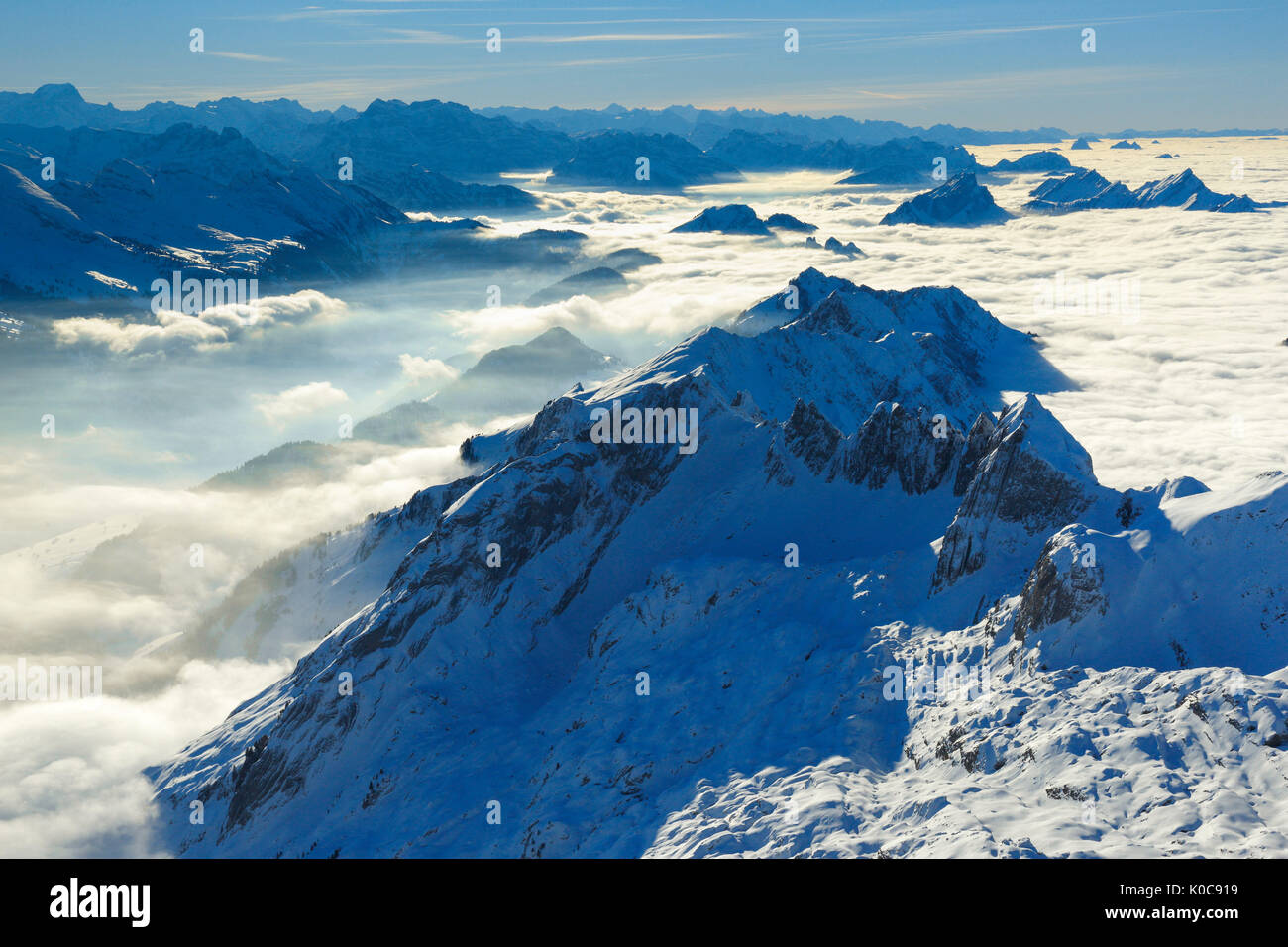 Aussicht vom Säntis, Appenzell, Schweiz Stockbild