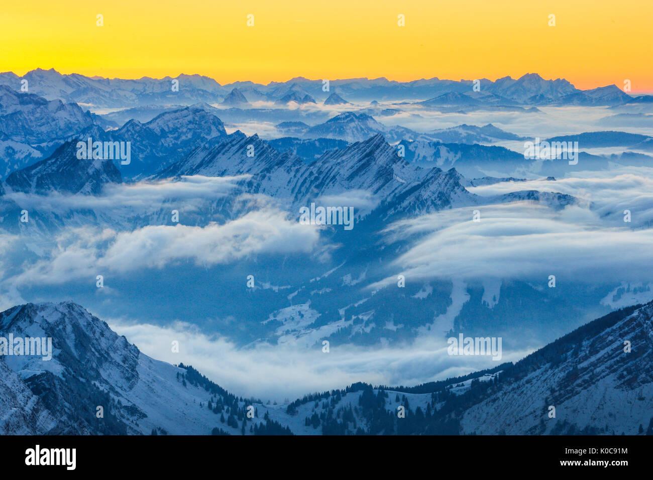 Mattstock und Speer, Schweizer Alpen, Schweiz Stockbild