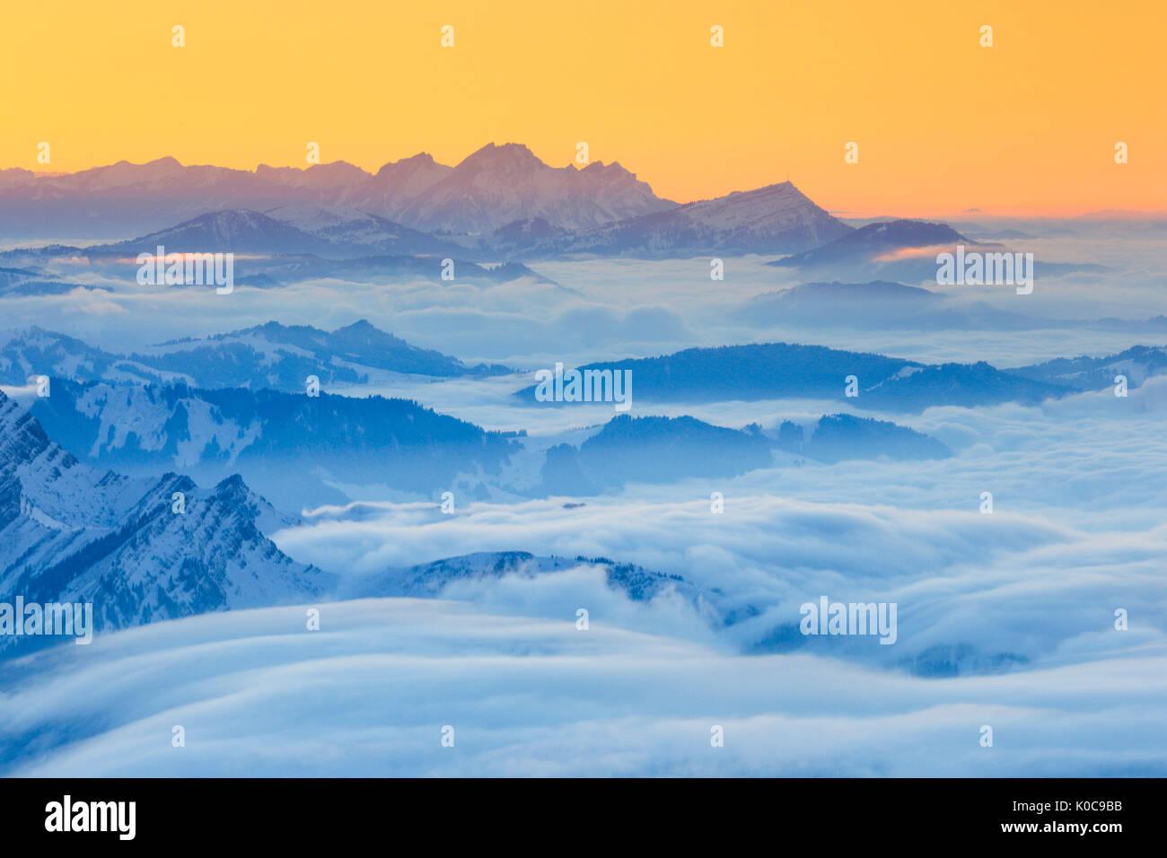 Pilatus, Rigi, Schweizer Alpen, Schweiz Stockbild