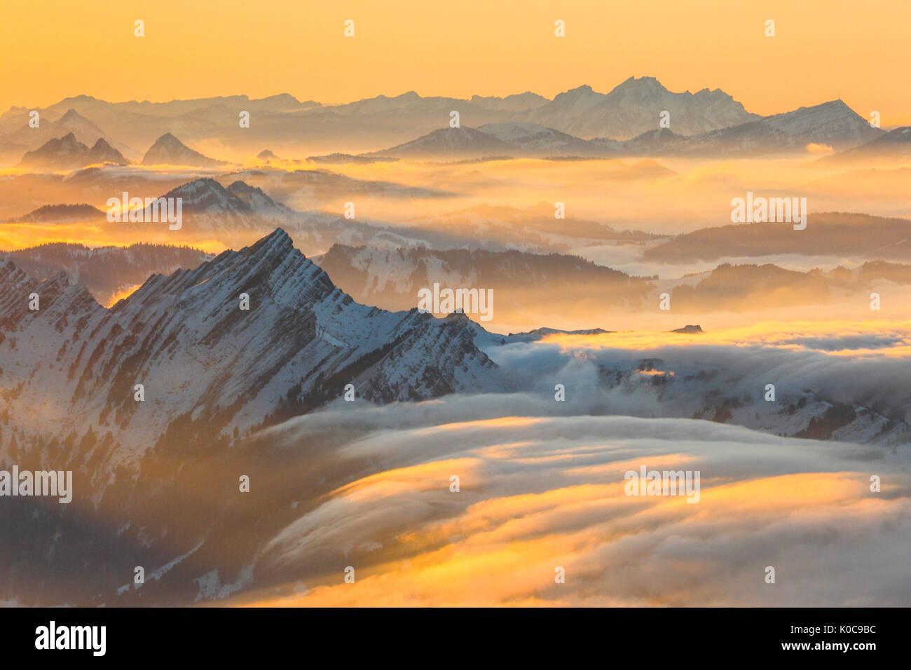 Speer, Pilatus, Rigi, Schweizer Alpen, Schweiz Stockbild