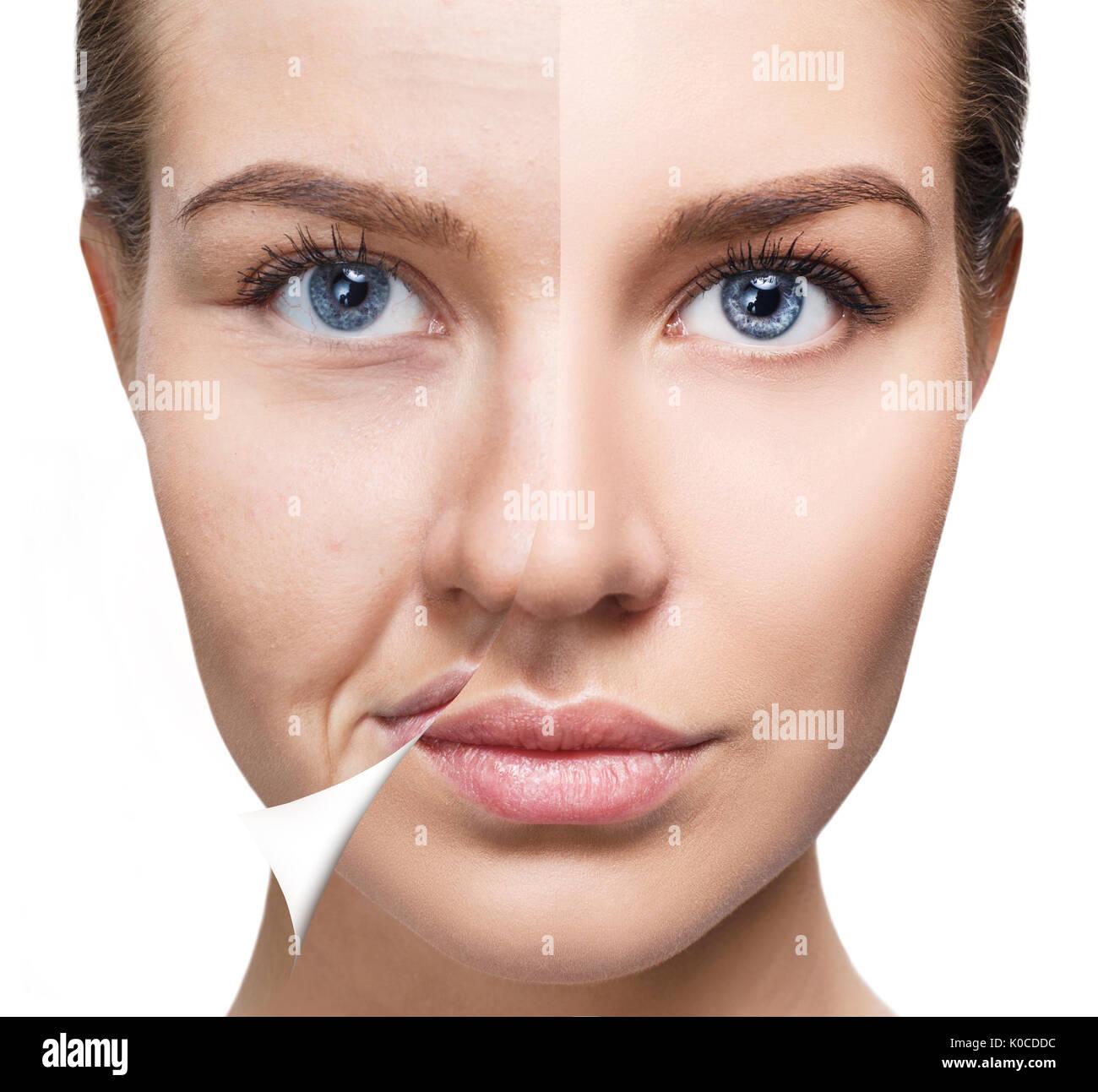 f21ba72f967a Gesicht der Frau vor und nach der Verjüngung Stockfoto, Bild ...
