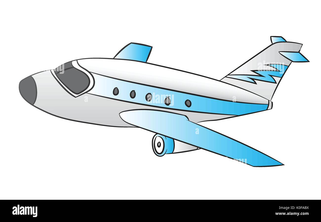 Abbildung: Flugzeug auf weißem Hintergrund, Cartoon Vector ...