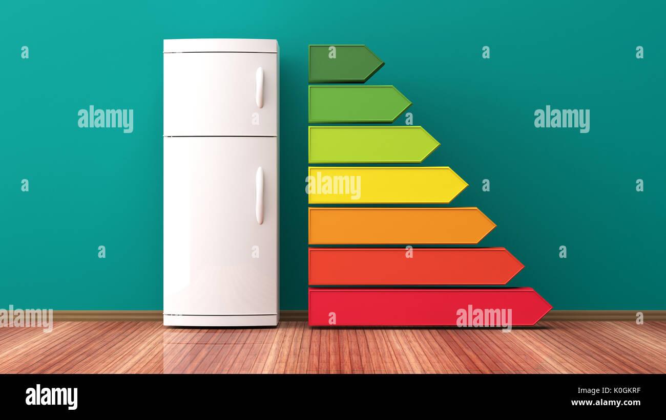 Kühlschrank und Energieeffizienz. 3D-Darstellung Stockbild