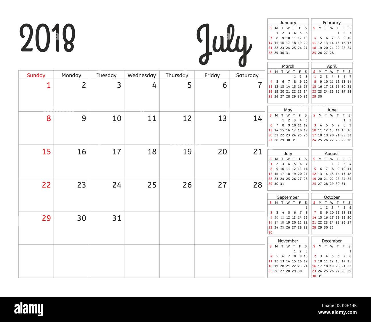 Einfacher Kalender Planer für 2018 Jahr. Kalender Planung Woche ...