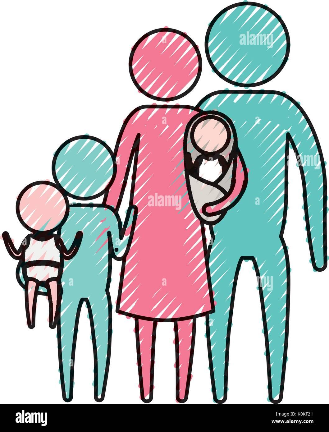 Farbe Kreide silhouette Piktogramm große Familie Gruppe Stockbild