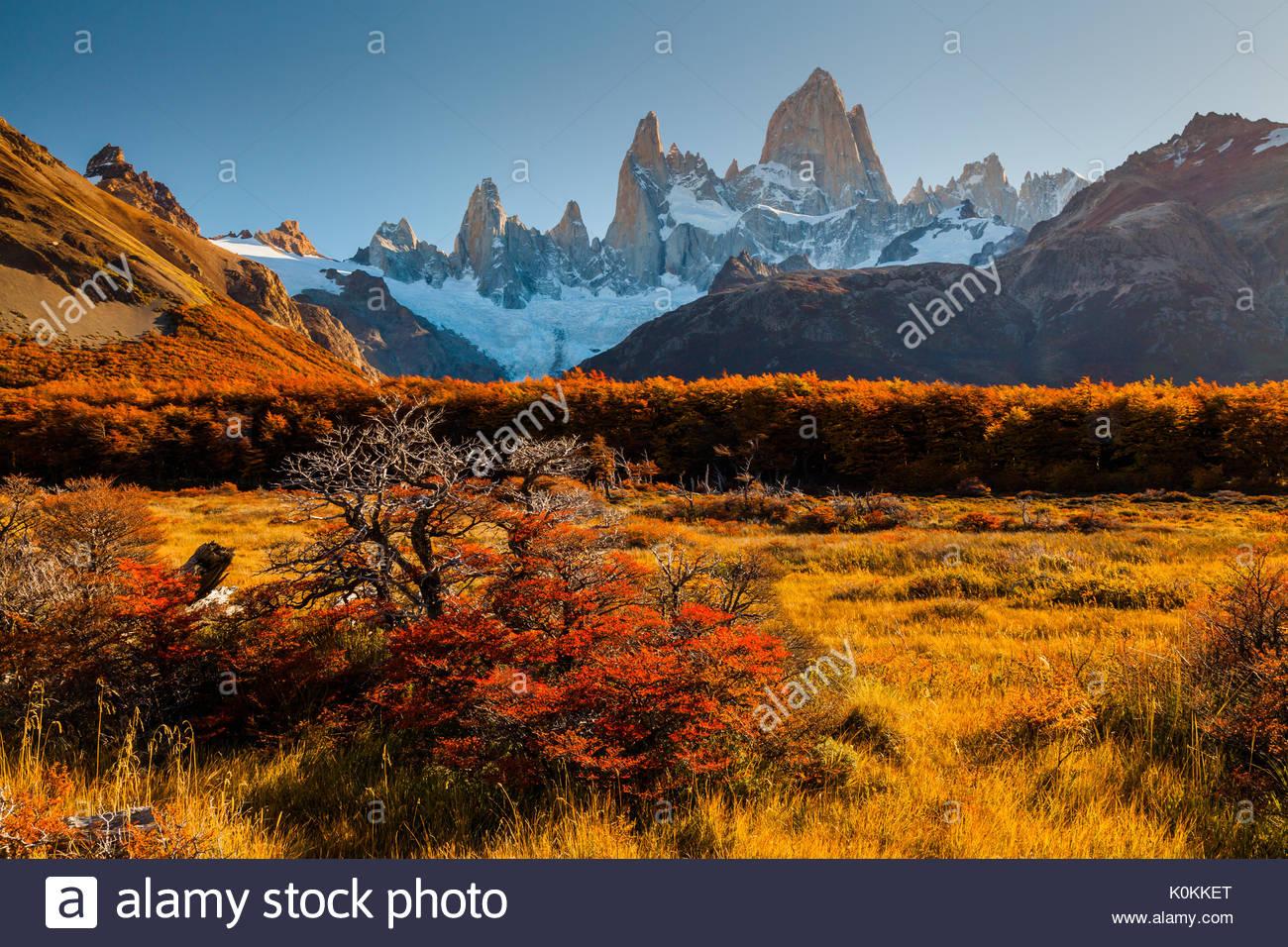 Herbst in Patagonien. Fitz Roy, Argentinien Stockbild