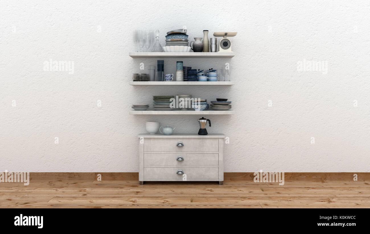 Minimalistische küche interieur mit einer einzigen kleinen