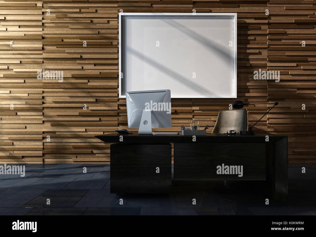 Modernes Büro mit leeren Bilderrahmen hängen an einem verfügen über ...