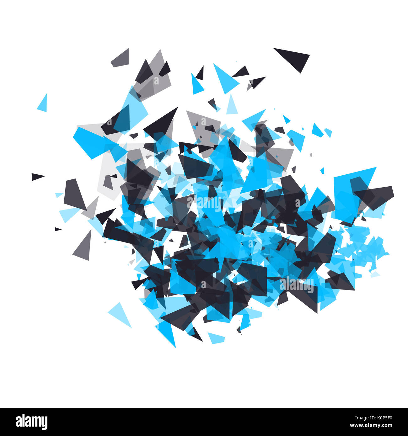 Shatter design Element. Die Wolke der Explosion der Teilchen. Urlaub, Party, Plakat, Einladung Geburtstag Konzept. Geometrische modernen abstrakten Hintergrund für Banner, Postkarten, Präsentationen. Stockbild