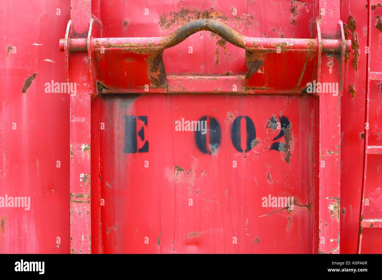 Detail von altem verwitterten Container Stockbild