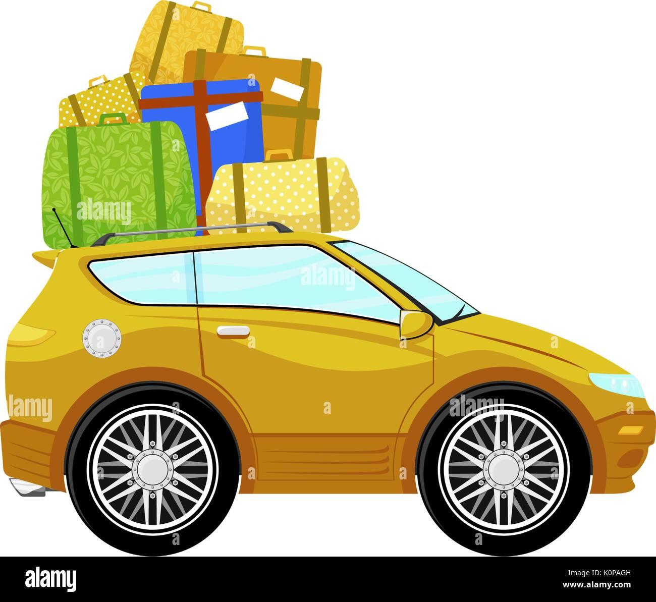 Lustige Auto Cartoon Mit Gepäck Auf Weißem Hintergrund Vektor