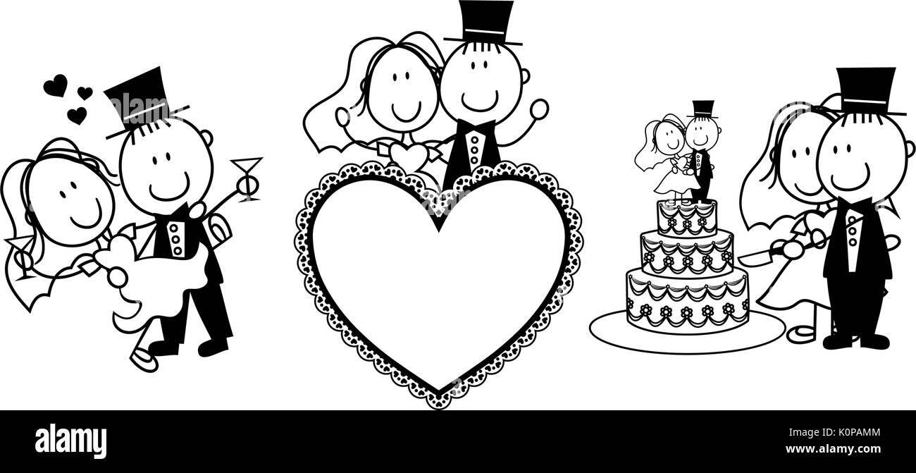Eingestellt Von Isolierten Cartoon Paar Szenen Ideal Fur Lustige