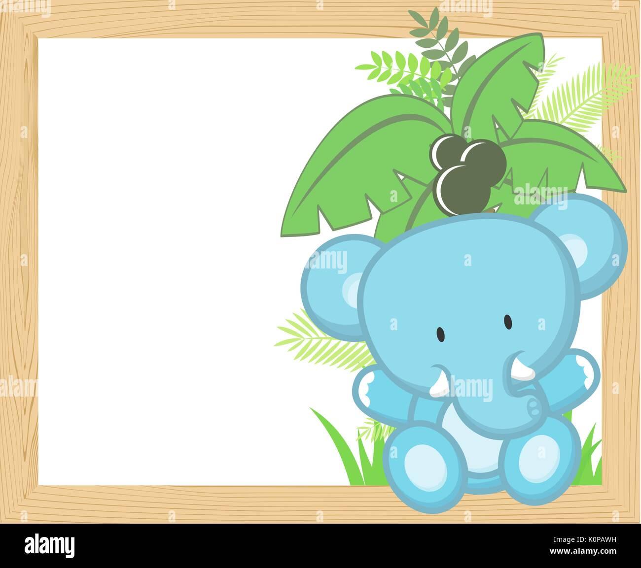 Cute Baby Elefant mit tropischen Blättern und Palme auf leere Holz ...