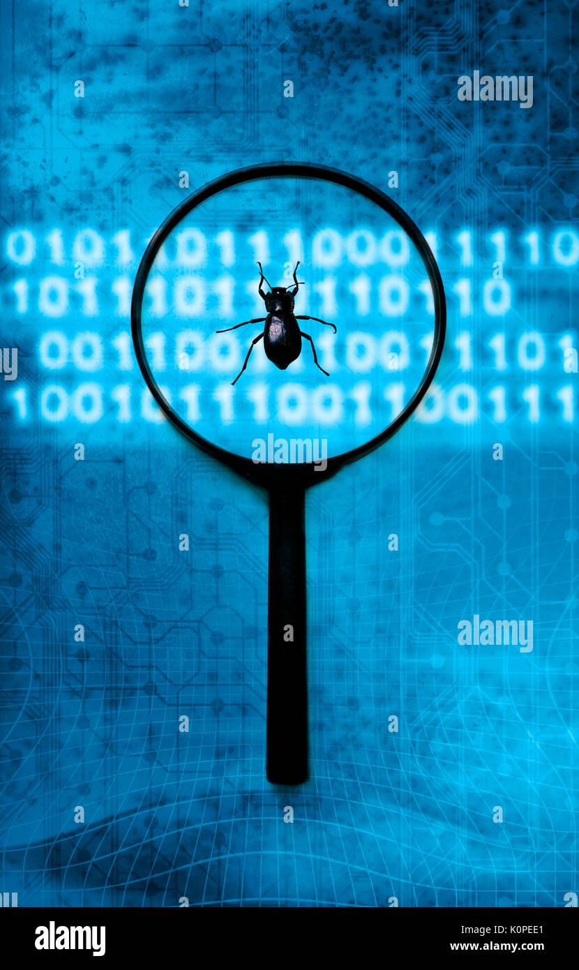 Identifizieren von computer Bugs und Virus-Konzept Stockbild