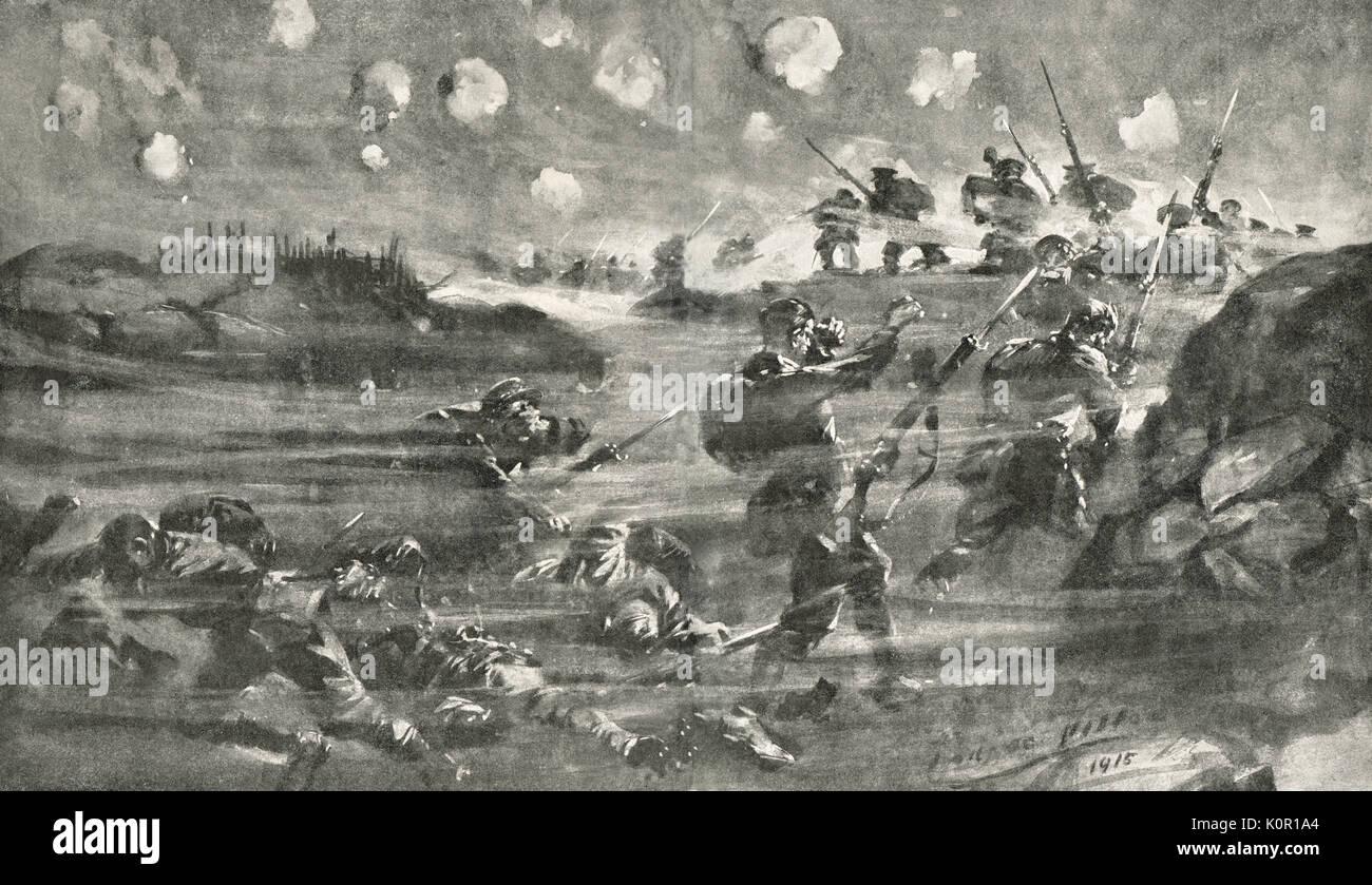 Deutsche Verwendung von Gas an der Schlacht von Hill 60, Mai 1915, WK 1. Stockfoto