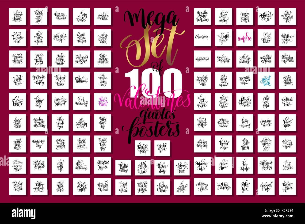 Mega Set Von 100 Hand Schriftzug Valentines Und Hochzeit