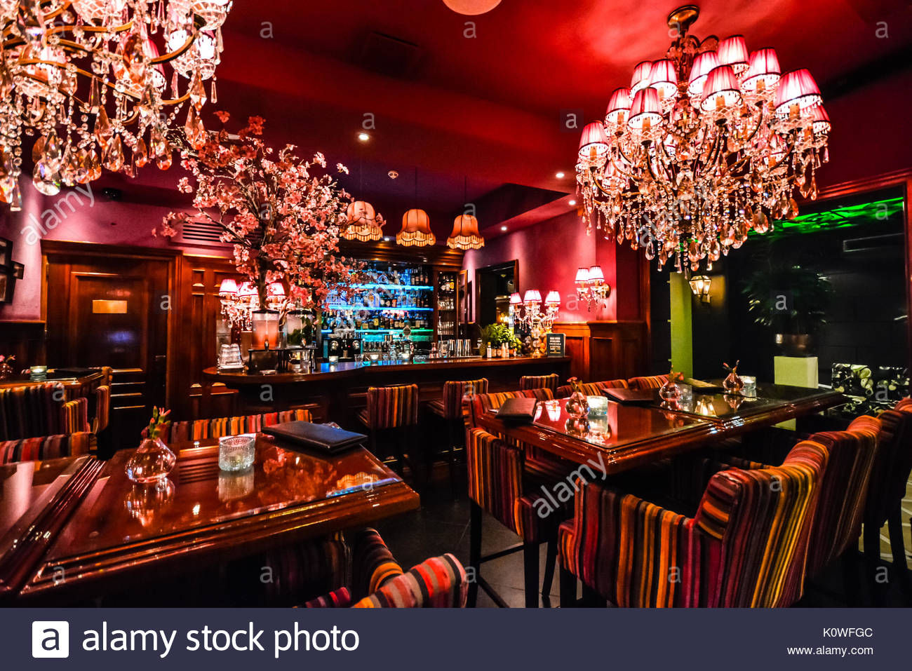 Eine kleine Bar und Cafe in Amsterdam verfügt über ein luxuriöses ...