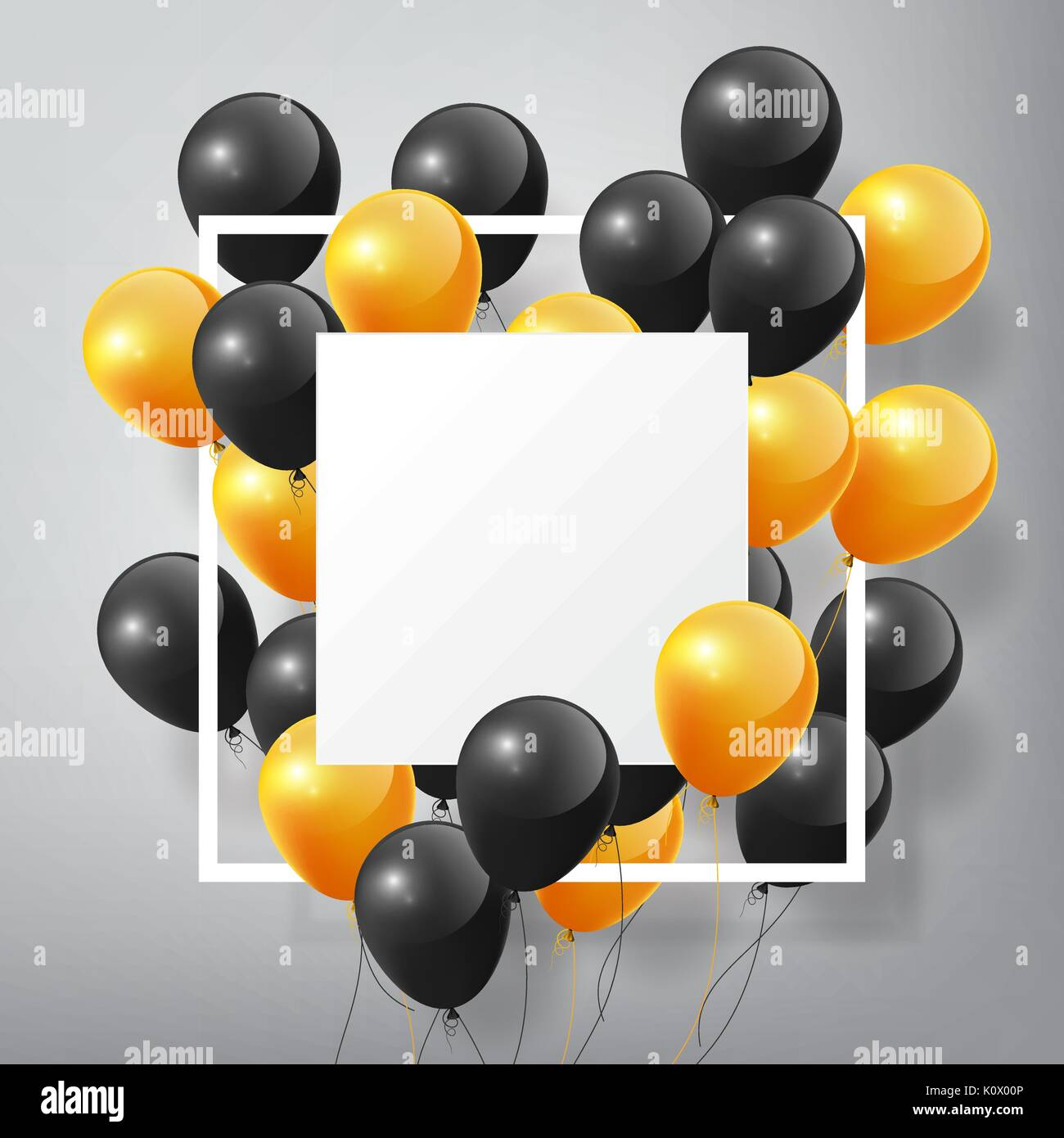 Flying realistische Glänzend schwarz orange Luftballons mit ...