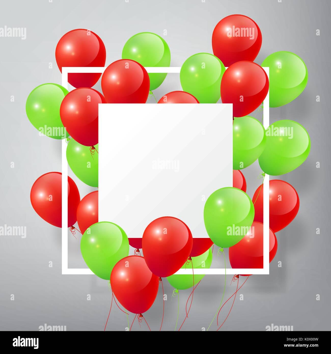 Flying realistische Glänzend Grün Rot Luftballons mit Quadratische ...