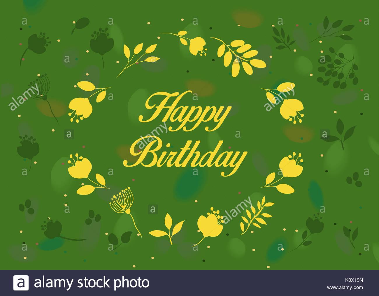 Alles Gute Zum Geburtstag Blumen Grusskarte Gruner Hintergrund Mit