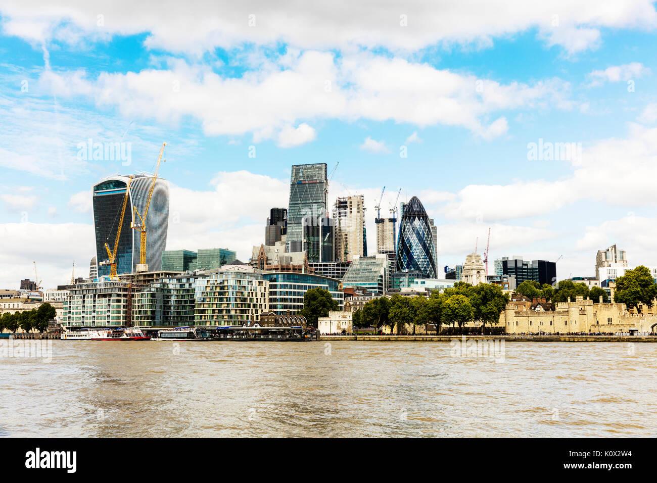 Stadt Skyline von London, Tower 42, der Cheesegrater und Walkie Talkie Wolkenkratzer, London, England, Vereinigtes Königreich, Europa, 20 Fenchurch Street, Städte Stockbild