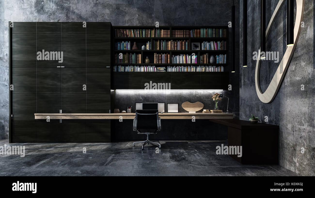 Monochromatische Luxus grau moderne Büro Interieur mit langen Tisch ...