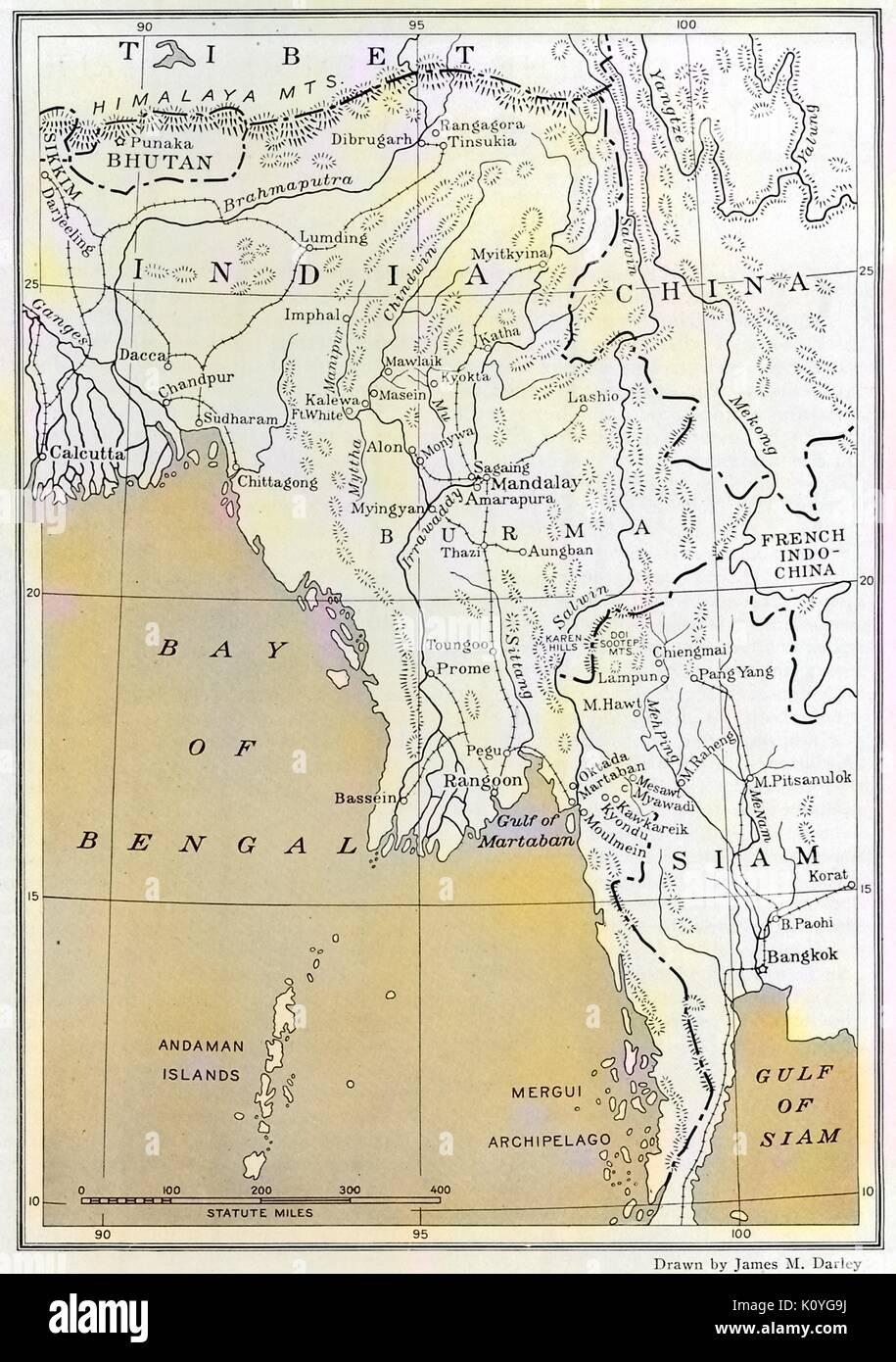 Karte Myanmar.Karte Von Burma Heute Myanmar Die Bucht Von Bengalen Siam Heute