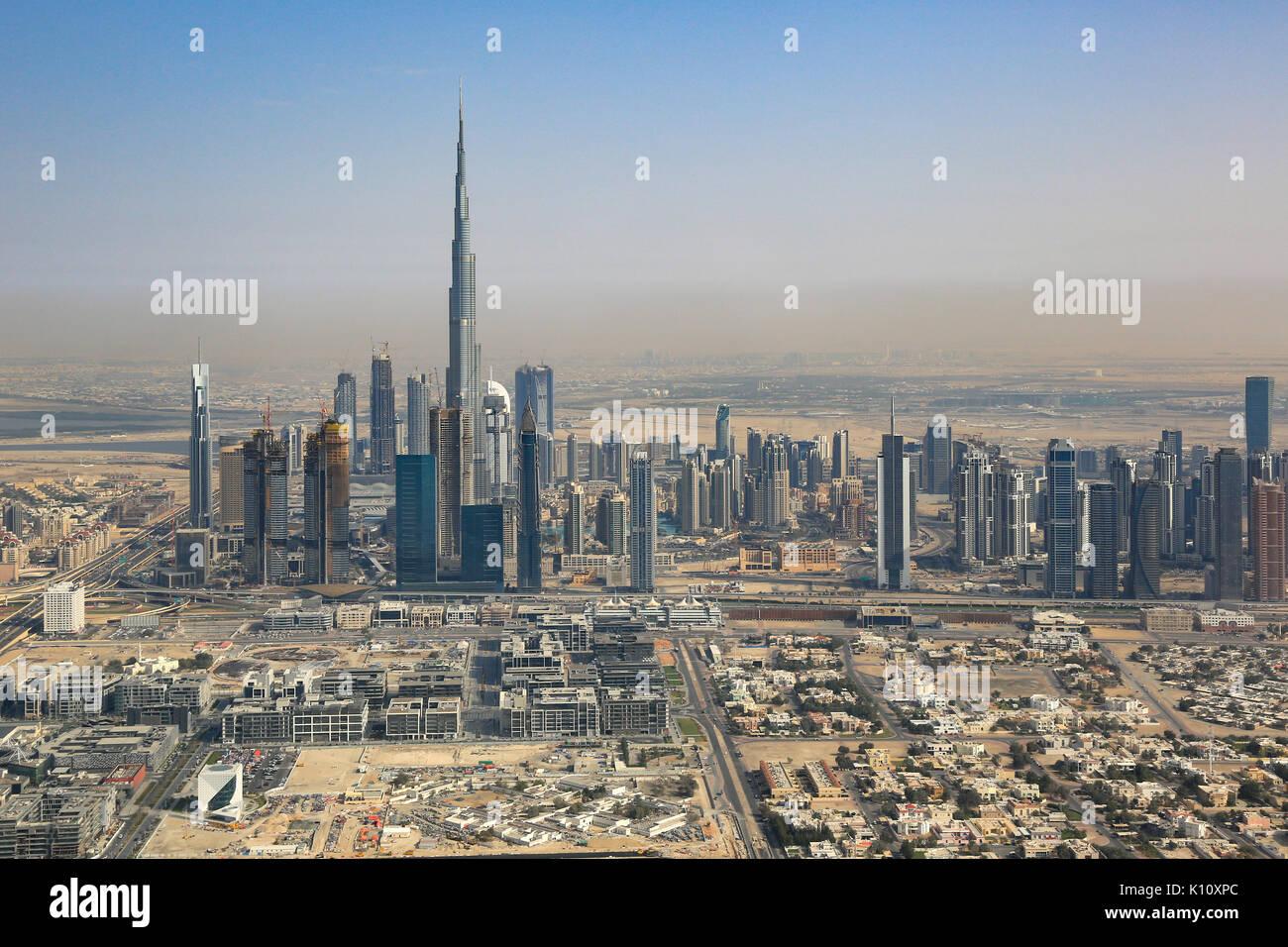 Skyline von Dubai Burj Khalifa hochhaus Luftbild Fotografie VAE Stockbild