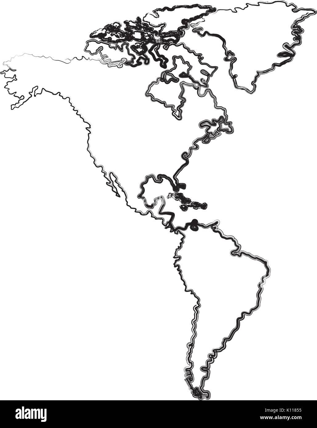 Amerika Karte Schwarz Weiß.America Map Stockfotos America Map Bilder Seite 2 Alamy