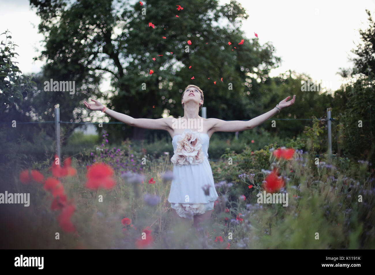 Junge Frau wirft Blütenblätter Stockbild