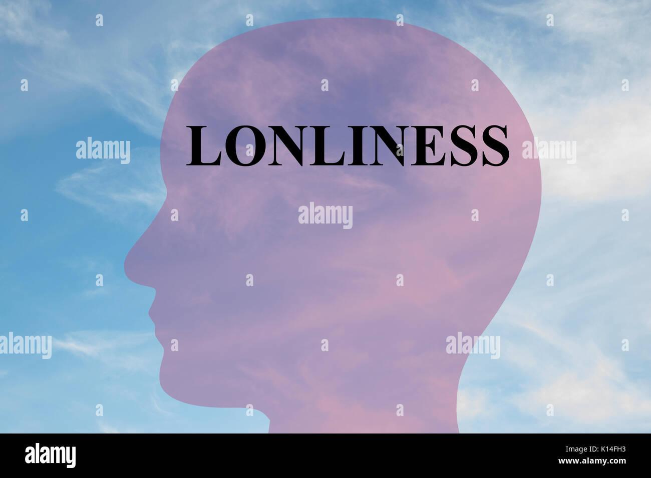 """Render Abbildung: """"Einsamkeit"""" Titel auf dem Kopf silhouette, mit bewölktem Himmel als Hintergrund. Stockbild"""