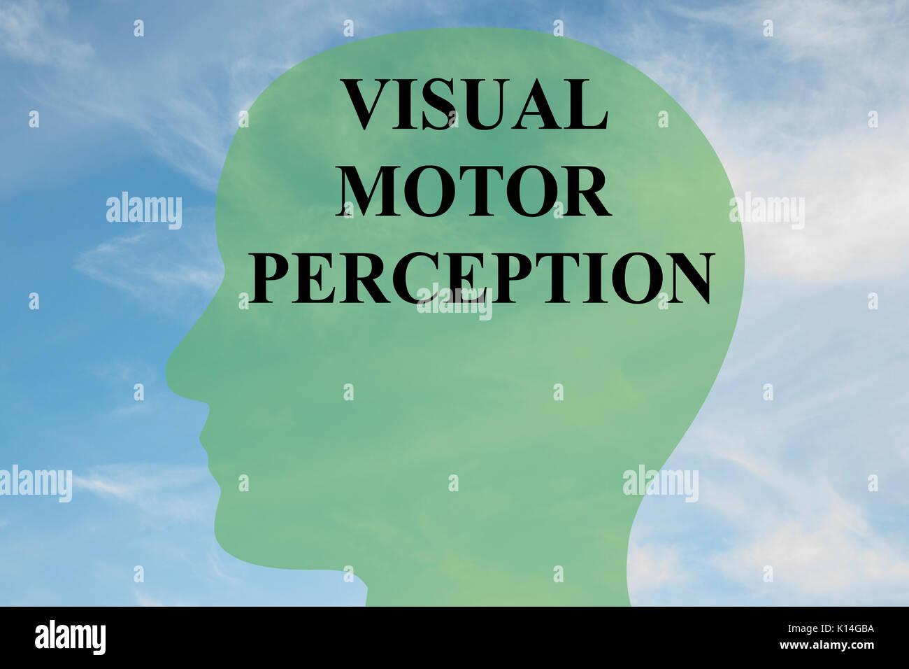 Render Abbildung von 'VISUAL MOTOR WAHRNEHMUNG' Skript auf dem Kopf silhouette, mit bewölktem Himmel als Hintergrund. Stockbild