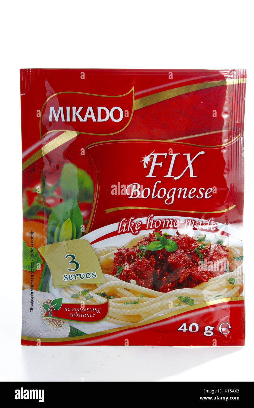 Mikado fix Bolognese Stockbild