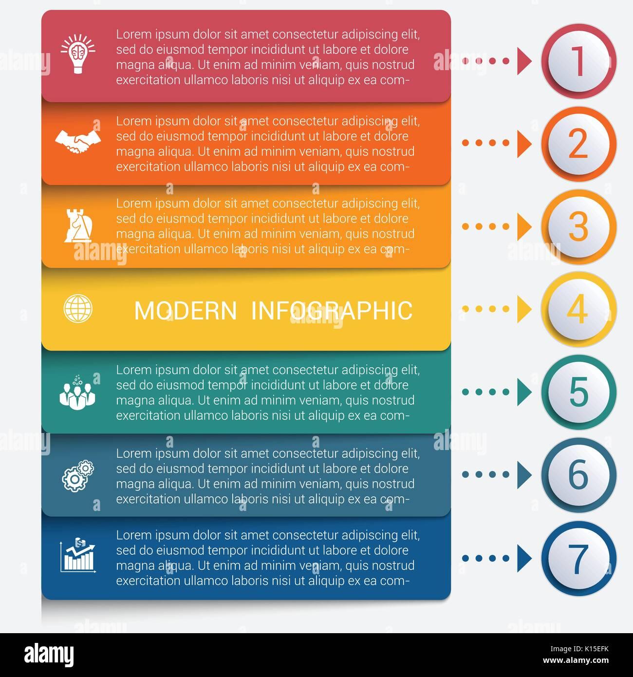 Moderne streifen Infografiken 7 Optionen Banner für ...