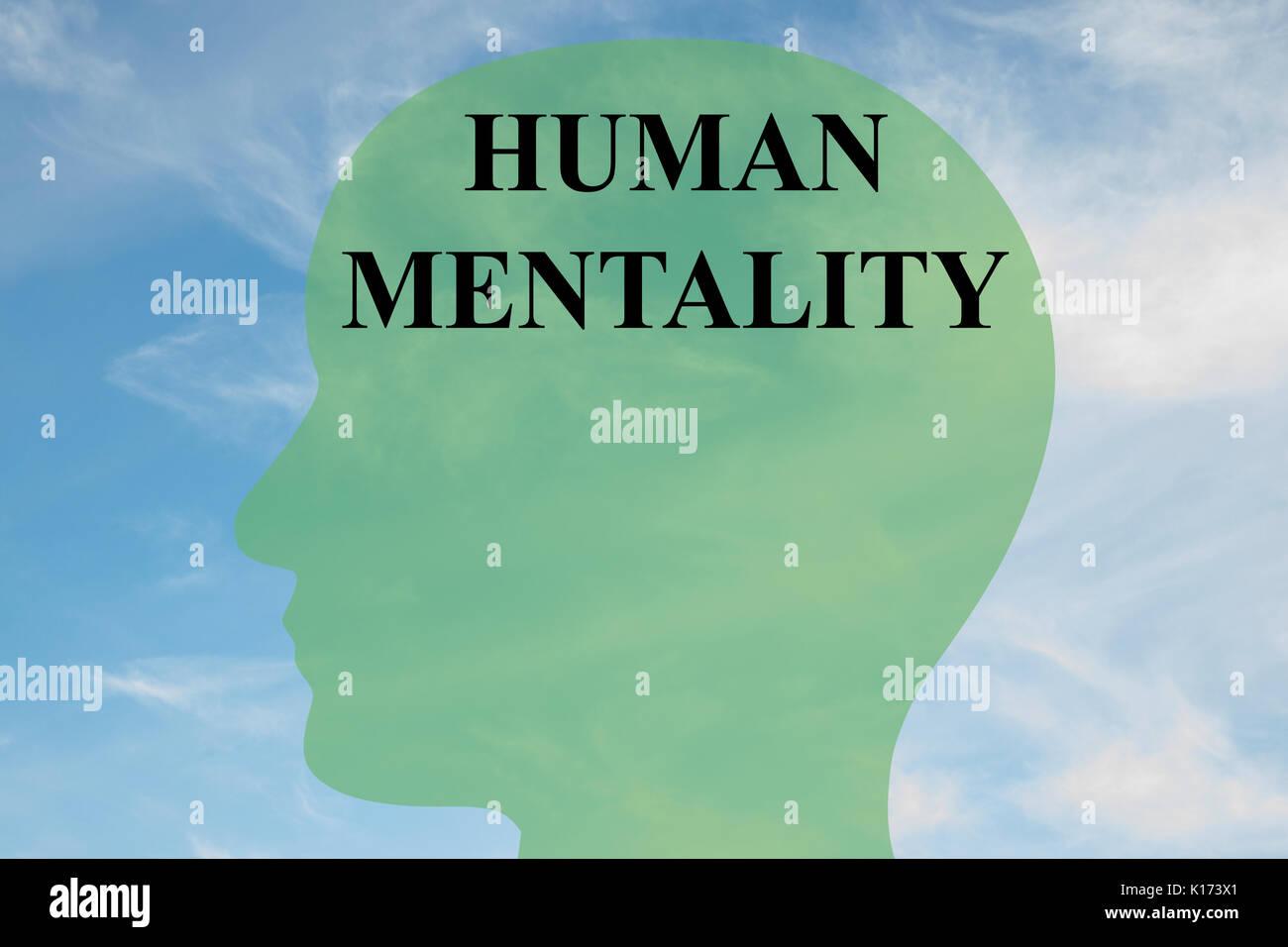 """Render Abbildung: """"menschliche Mentalität' Skript auf dem Kopf silhouette, mit bewölktem Himmel als Hintergrund. Stockfoto"""
