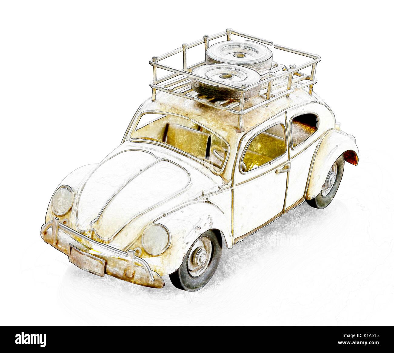 Retro auto Zeichnung Skizze Stockfoto, Bild: 155731441 - Alamy