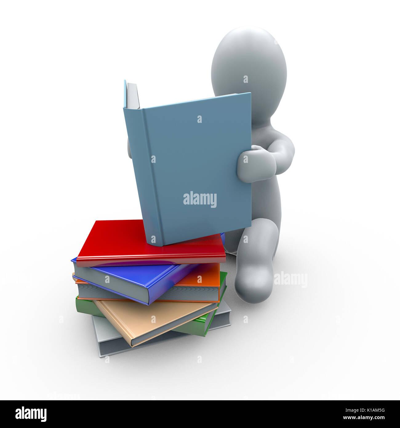 Weiße Puppe Mit Buch In Der Hand Und Einem Bücherregal Im