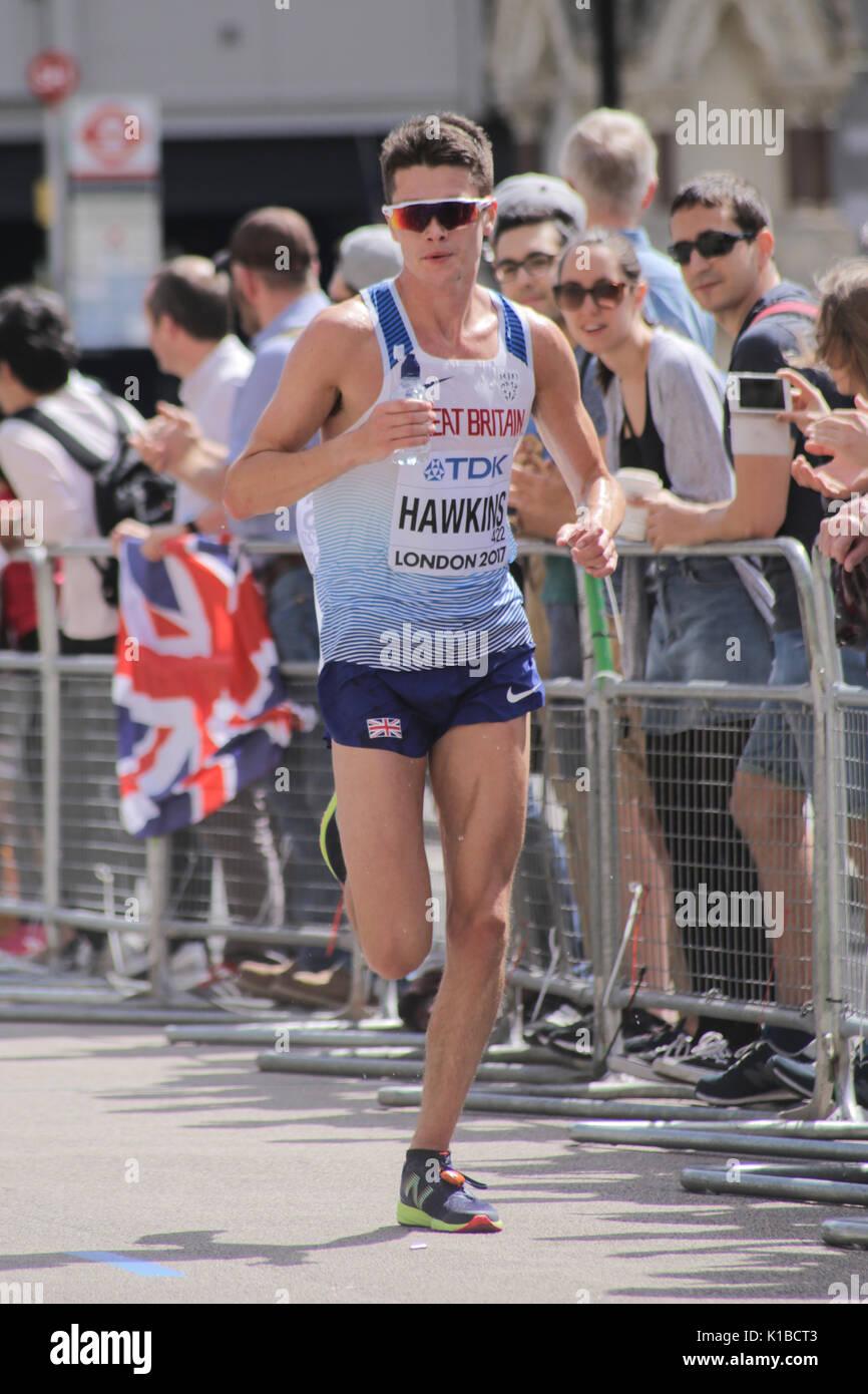 6 Jul '17 London: Britische Athleten CALLUM HAWKINS 2017 der Leichtathletik-weltmeisterschaft Männer Marathon auf dem Weg zu Platz 4 in einer Zeit von 2:10:17 Stockbild