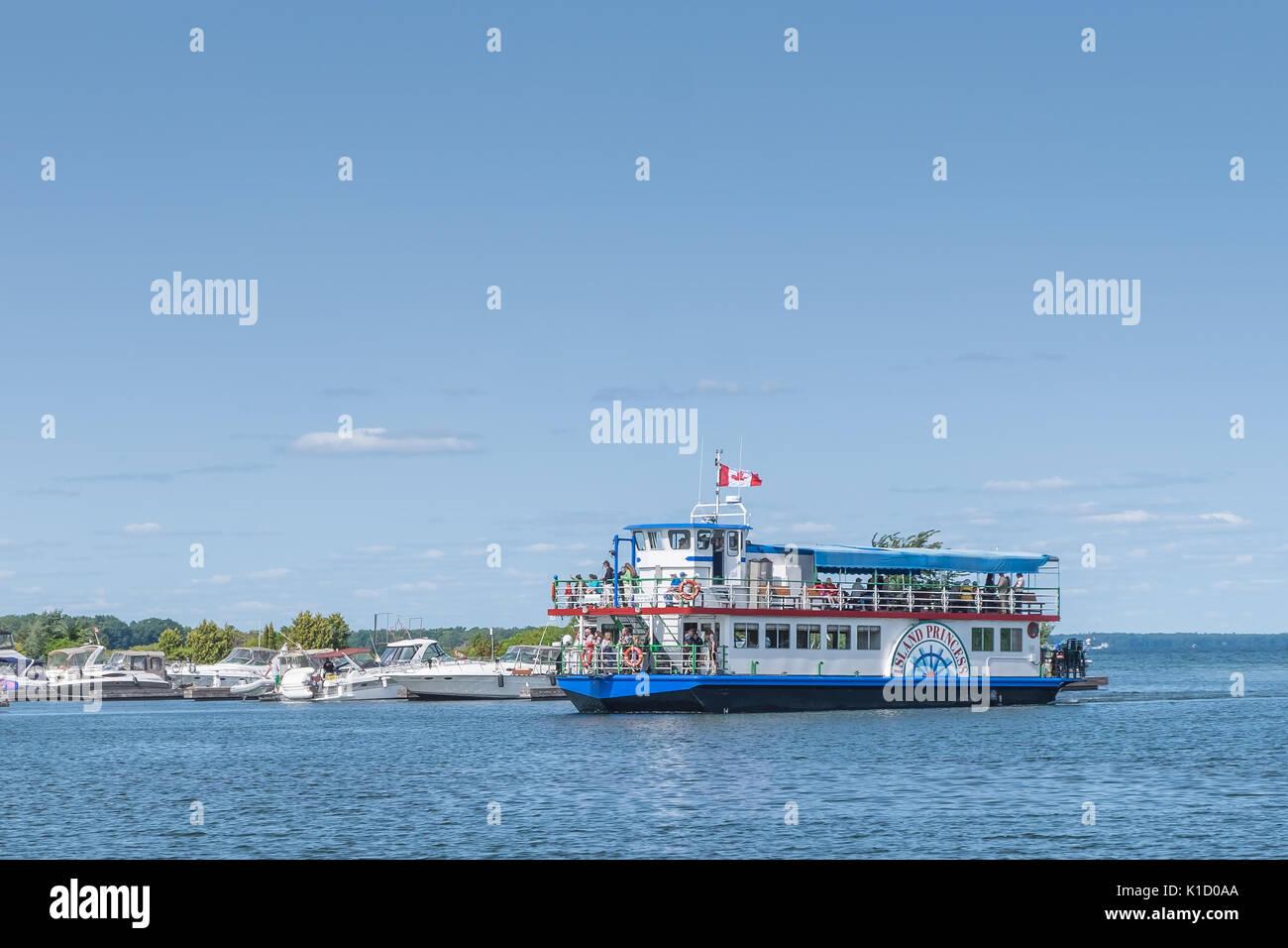 Die Island Princess eine Tour Boot auf See Couchiching fährt täglich vom Hafen von Orillia Ontario. Stockfoto