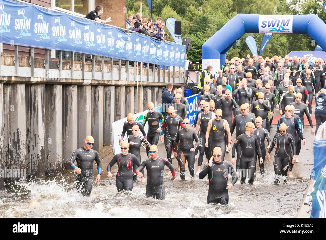 Die großen schottischen Schwimmen 2017, Loch Lomond, Schottland, UK Stockbild