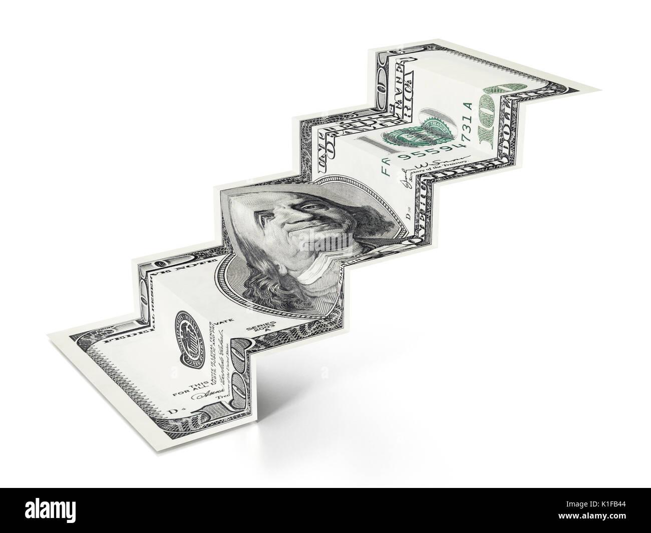 100 dollar Treppe auf weißem Hintergrund. 3D-Darstellung. Stockbild
