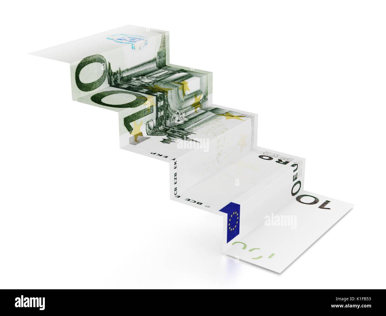 100 euro Treppe auf weißem Hintergrund. 3D-Darstellung. Stockbild
