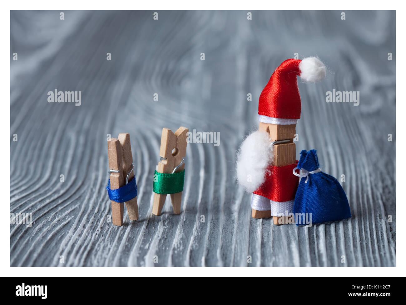 Weihnachten Konzept Wäscheklammer Santa Claus Mit Kindern Und