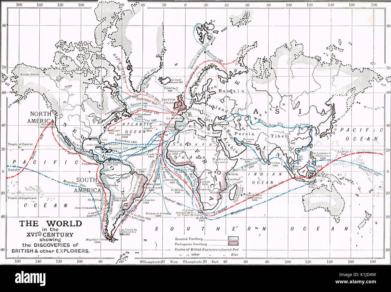 Weltkarte des 16. Jahrhunderts zeigen die Erkenntnisse der Britischen und anderen Entdeckern Stockbild