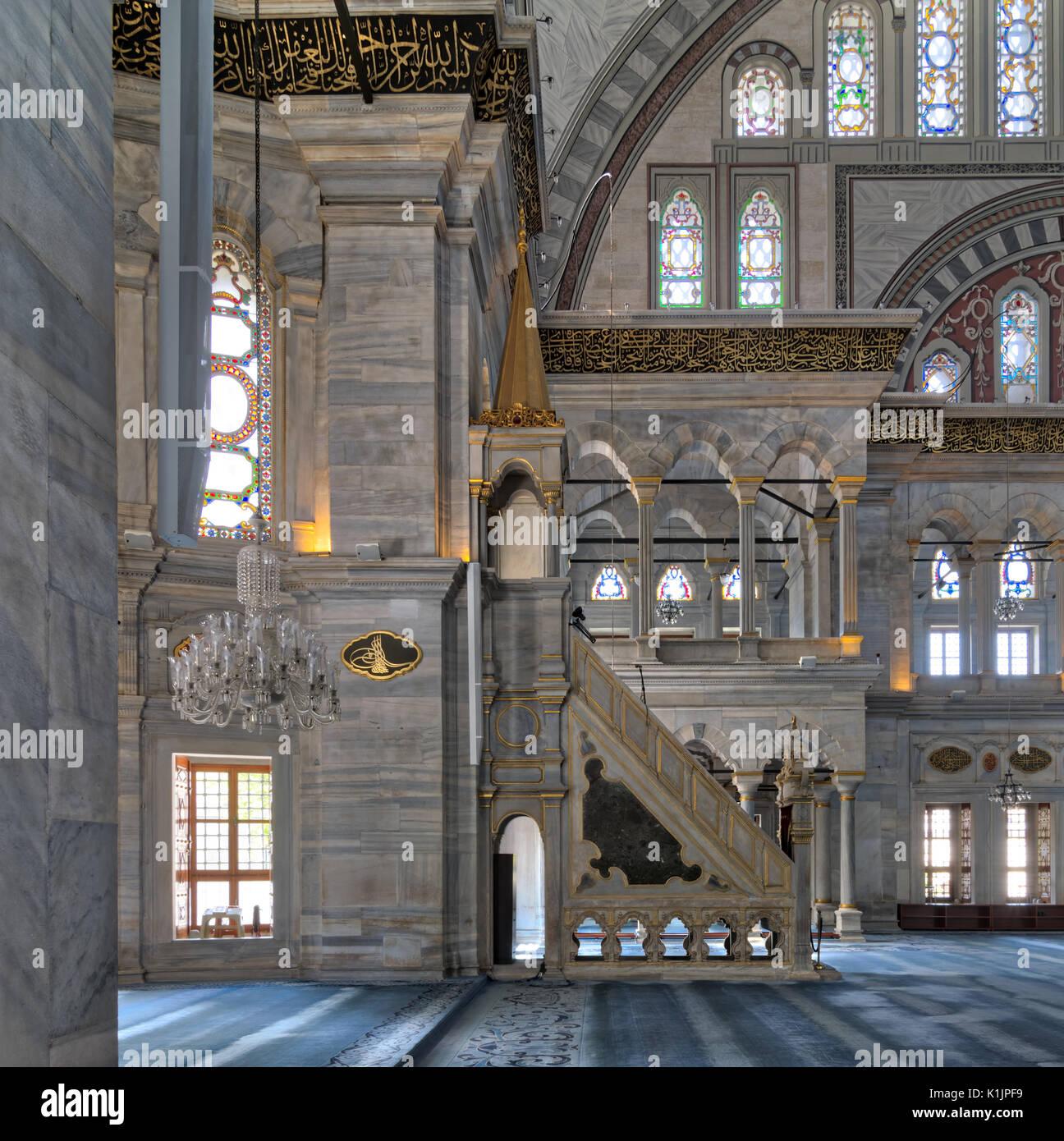 Innere Aufnahme der Nuruosmaniye Moschee, die osmanische Moschee im ...