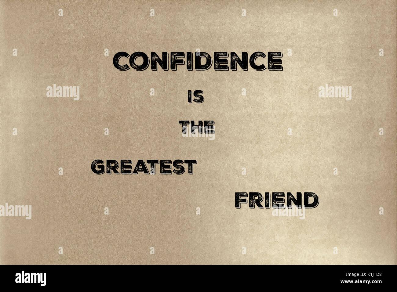 Ein Satz von Lao Tzu: Vertrauen ist der beste Freund. Grafik Design. Stockbild